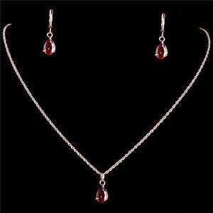 18 k Gold Filled Ruby Water Drop Pendants Necklace Earrings Jewelry Sets !!!