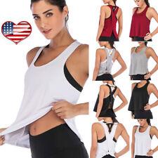 Women Sexy Open Back Sport Vest Yoga Shirts Tie Workout Racerback Tank Tops ZYL