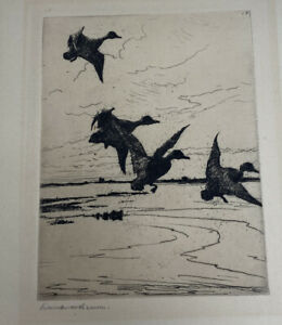 "Frank Benson (1862-1951) Etching Titled ""Ducks Alighting"""