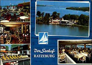 RATZEBURG Der Seehof Hotel Restaurant Café color Luftbild-AK Luftaufnahme ~1970