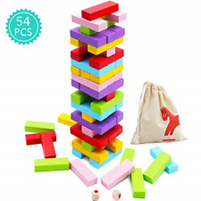 Game Giant Yard Wood Block Picnic Party Pool Tower Lawn Outdoor 54 Pieces