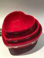 5x Valentine's Red Heart Shaped Nesting Bowls by Terramoto Ceramic