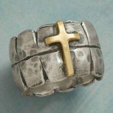 Cross Vintage Fashion Wedding Women Ring Sz9 925 Silver Men Party Rings 14k Gold