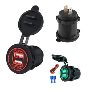 Red LED Dual Outlet Car Boat USB Charger Power Socket 2.4+2.4A w/ Cable 12/24V