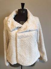 Patagonia Women Winter White Jacket Pelage Fuzzy Cream Furry Zip Snap Coat Small