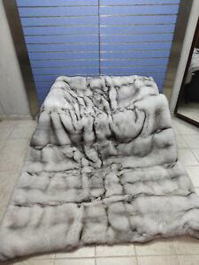 "Luxury Full Skin ""Blue Fox Fur Throw Real Skin To Skin Fox Blanket Double-sided"