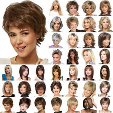 Women Short Wavy Curly BOB Real Natural Wig Heat Full Hair Wigs Toupee Hairpiece