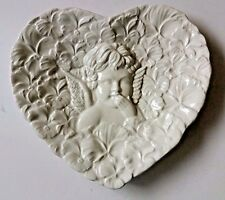 Cherub Angel Plate Heart Shaped White Hand Painted Vintage Made in Italy 1995