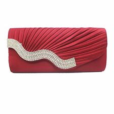 Vincenza Women's Diamond Pleated Evening Clutch Bag Crystal-Studded Elegant Wave