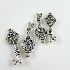 60pcs/lot Antique Silver Chic Key Shaped Alloy Pendants Charms Findings 52427