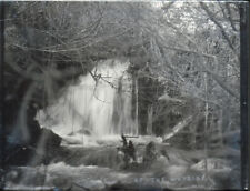 """Antique Vintage Glass Negative """"By The Wayside"""" Late 1800s 10.5x8cm Waterfall"""