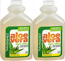 Aloe Vera Juice 99.8% PURE ALOE Fruit of the Earth INNER FILLET 32oz ( 2 pack )