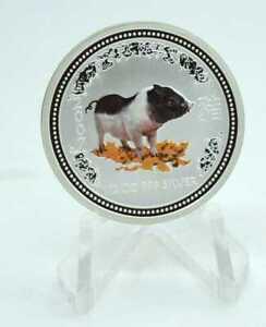 0,5 OZ Silber Australien 50 cent Lunar I Schwein 2007 colored Lagerräumung