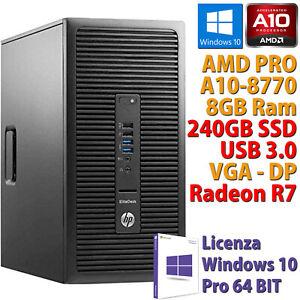 PC COMPUTER RICONDIZIONATO HP 705 G3 AMD A10-8770 RAM 8GB SSD 240GB RADEON R7