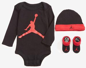 Nike Air Jordan Jumpman Boys Baby 3-Piece Set Newborn 0-6 Months black and red
