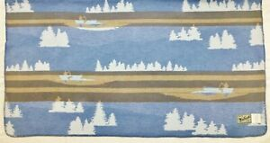 Woolrich Throw Blanket Scenic Lodge Cabin Decor Canoes 56 X 52 Double Sided