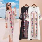 Mexican Ethnic Boho Embroidered Pessant Hippie Women Flower Loose Beach Dress L