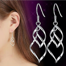 Women Stainless Steel Fashion Lady Dangle Ear Stud Hoop Earrings Jewelry Spiral