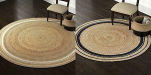 Rug 100% Natural Jute Bohemian Reversible Round Area Dhurrie Carpet Mat Rag Rug