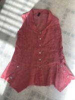 Onz 100% Orange Linen Womans Sleeveless Boxy Loose Top Large Blouse Italy Peplum
