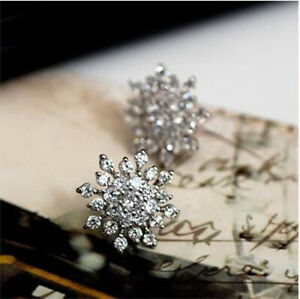 Women Elegant Fashion Silver Rhinestone Snowflake Crystal Ear Stud PA