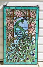"20"" x 34"" Large Handcrafted stained glass peacock window panel"