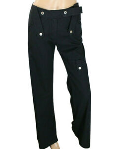 Roberta Scarpa Women's Cargo Pants Black Stretch Size 4 Made in Italy