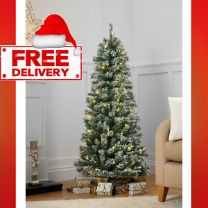 5ft Pop-Up Pre-Lit LED Christmas Tree - Silver and White Baubles