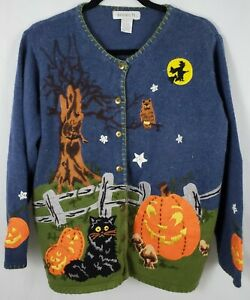 Vintage Halloween Sweater Cardigan Black Cats Pumpkins Witch Women's Size L