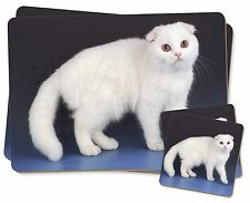 White Scottish Fold Cat Twin 2x Placemats+2x Coasters Set in Gift Box, AC-109PC