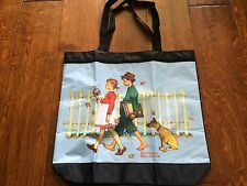 """Norman Rockwell Large Black Tote Bag """"Young Love Walking To School"""" Zip Pocket"""