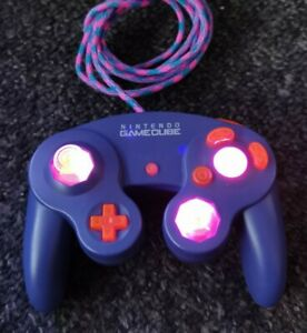 Official Nintendo Gamecube Controller Custom , LED lights and cable sleeve - T3