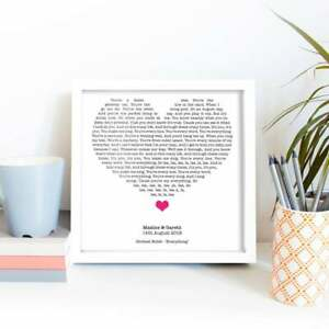 Song Lyrics in Heart, Anniversary Gift