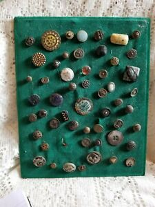 Antique Buttons Sew On A Green Velvet Backing, Unique & Beautiful Buttons!