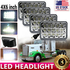 4pcs 4x6'' 75W Led Headlights Hi-Lo Sealed Beam for Peterbilt Kenworth T800 W900