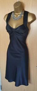 Calvin Klein Black Silky Dress Evening Cross Back Little Black Dress (2) UK 8-10