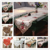 Bestickt Spitze Tischläufer Stickerei Mitteldecke Deckchen Tischband Hochzeit