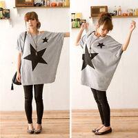 Women's Fashion Batwing Sleeve T-Shirt Long Loose Casual Star Cotton Blouse Tops