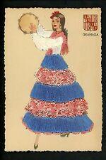 Embroidered clothing postcard Spain, Granada woman music tambourine
