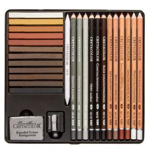 Cretacolor Creativo 27 Piece Artist Quality Drawing Set various Pencils Charcoal
