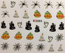 Nail Art 3D Decal Stickers Halloween Ghost Haunted House Spider Web Pumpkin E064