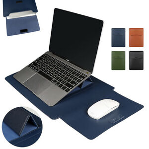 Leather Laptop Bag Sleeve Stand Case Cover For Macbook Air Pro 13.3 14 15.4 inch