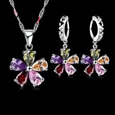 925 Sterling Silver Multi Coloured CZ Flower Set. Necklace and Drop Earrings