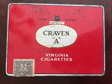Craven ''A'' Virginia Cigarettes  Tin 11x14.8 cm Canada Tax Stamp Cork Tipped