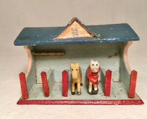 Lot of Vintage Erzgebirge Wood Mini Stable with Cow & Horse