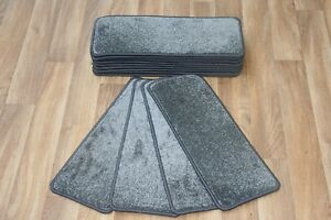 14 Carpet Stair Case Treads Majestic Grey 609 Saxony Large Pads!