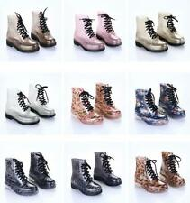 Womens Rain Boots Transparent Lace Up Waterproof Wellingtons Water Shoes Wellies