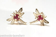 9ct Gold Ruby Dragonfly Studs Earrings Gift Boxed Made in UK
