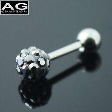 A single pearl black cubic snow ball barbell single earring stud piercing 18g