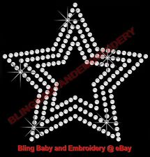 "6 Rhinestone Iron On Transfers Hotfix Star Bling 3.5"" x 3.5"""